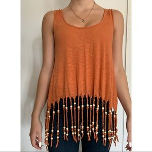 AMERICAN RAG Rust Colored Tank with Beaded Detail